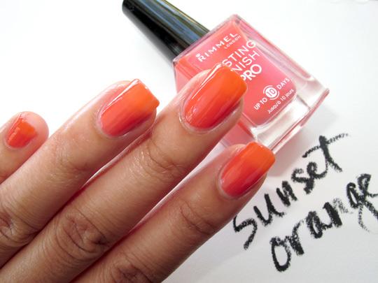 rimmel lasting finish pro polish review swatches sunset orange