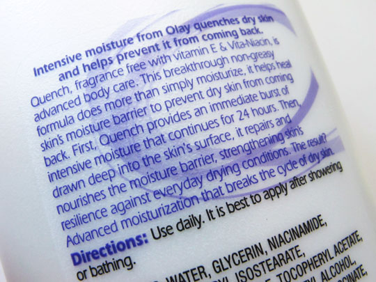 Olay Quench Advanced Healing Intensive Lotion review