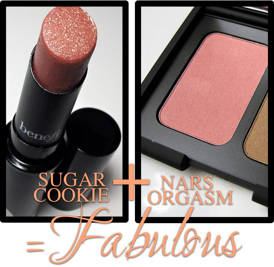 benefit sugar cookie and nars orgasm blush equal fabulous