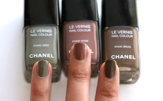 chanel les khaki de chanel swatches review photos khaki brun khaki rose khaki vert all three
