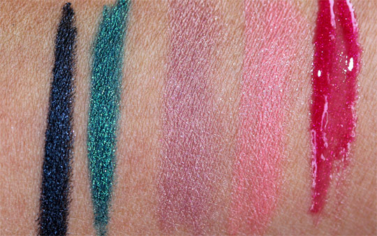 MAC a tartan tale holiday 2010 swatches pictures photos Pearlglide Intense Eye Liner in Black Swan Undercurrent Courting Lilac Cut A Paper Radiant Jewels