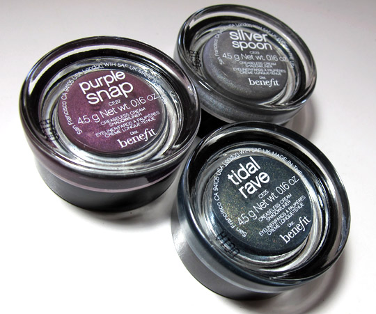 benefit creaseless cream shadow swatches review purple snap tidal wave silver spoon back