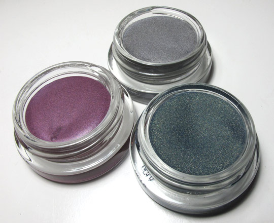 benefit creaseless cream shadow swatches review purple snap tidal wave silver spoon open
