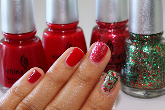 china glaze holiday 2010 swatches phat santa ruby deer mrs claus party hearty