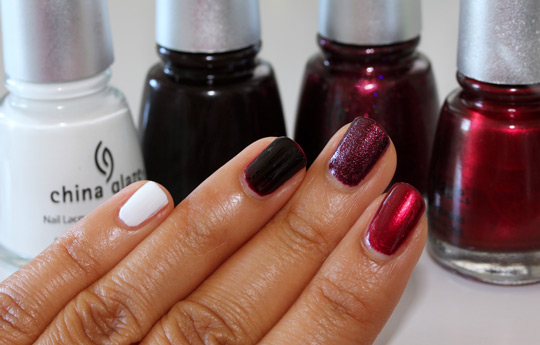 china glaze holiday 2010 swatches snow naughty and nice sugar plums mommy kissing santa
