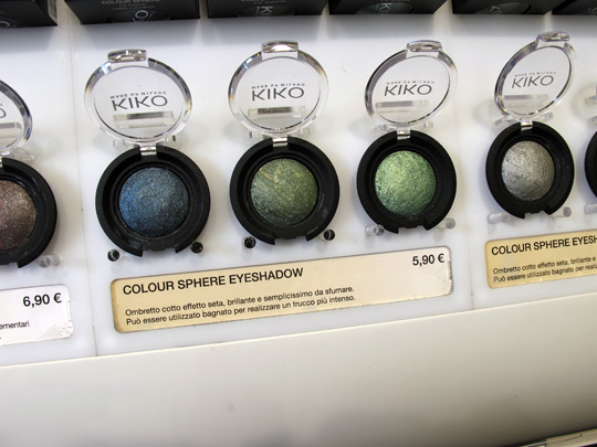 kiko cosmetics makeup backed shadows blue green