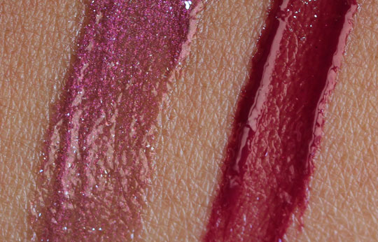 nars holiday 2010 swatches review photos downtown bougainville lip gloss swatches on skin
