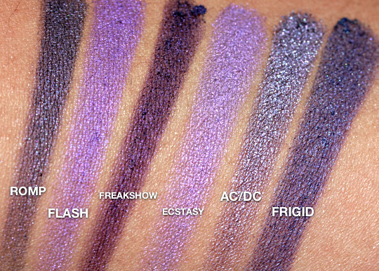 urban decay cowboy junkie comparisonswatches of romp along with other urban decay purples including flash freakshow ecstasy acdc fridgid