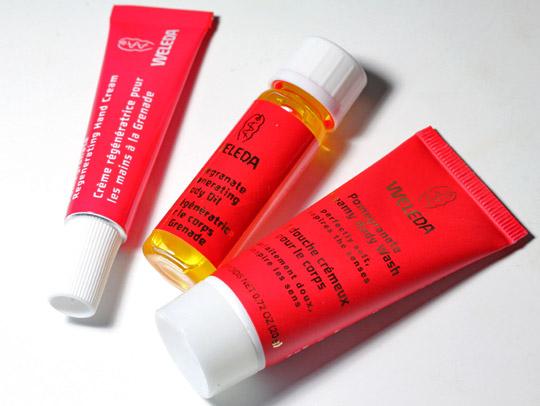 weleda pomegranate regenerating body care kit products