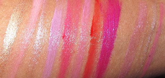Nyx Soho Glam swatches lip products