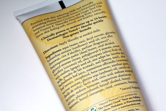 burts bees milk honey body lotion ingredients