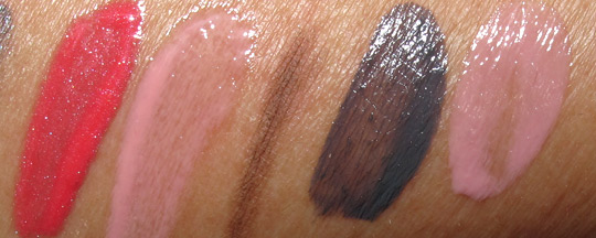 dior montaigne swatches glosses, brow filler and nail polish