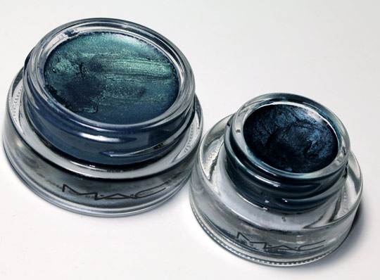mac delft paintpot on left and mac siahi fluidline on right