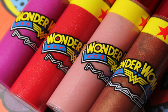 mac wonder woman Lipglasses closeup