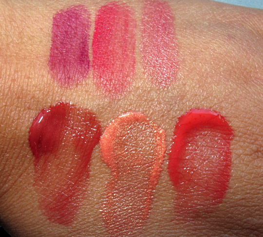 hourglass aura sheer lip cheek stain swatches with the flash