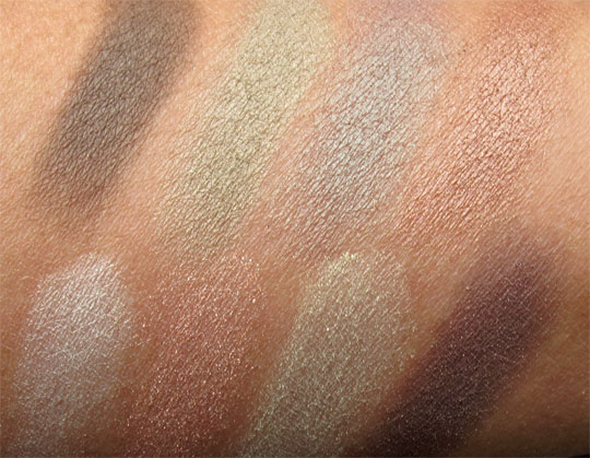 josie maran eye love you too palette swatches without the flash