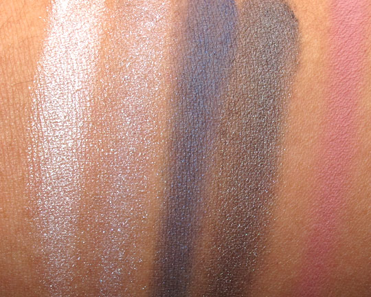 mac jeanius swatches eyeshadows blush