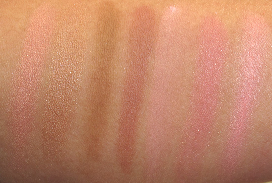 benefit blush swatches all with flash