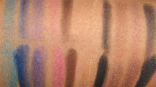 Milani Baked Eyeshadow Swatches swatches with the flash