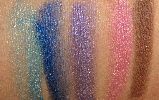 Milani Baked Eyeshadow Swatches applied wet