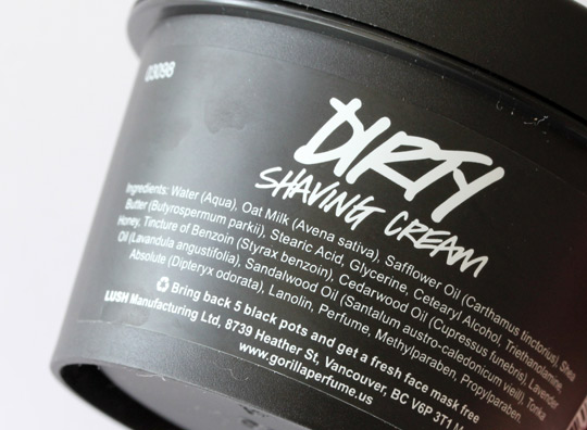 lush dirty shaving cream