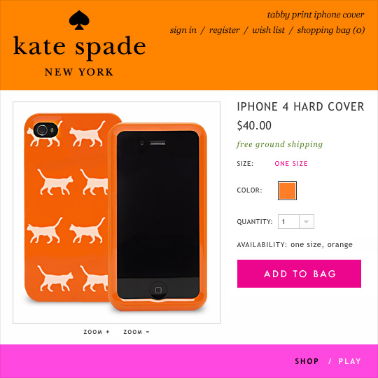 Tabs for the Kate Spade Cat iPhone Hard Case