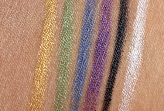 essence metallic eye pencils swatches without the flash