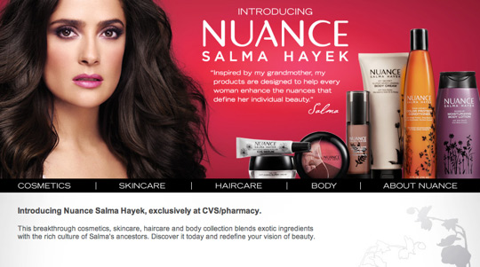 The New Nuance Salma Hayek Makeup Skin