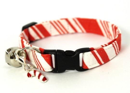 candycane christmas cat collar