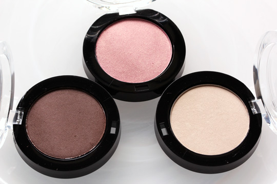 milani powder eyesshadows in brown stone, tickled pink and french vanilla