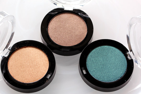 milani powder eyeshadows in gold dust, caramel brown and just perfect