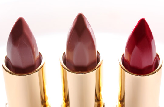 milani color perfect lipstick in nude creme, barely there and red label