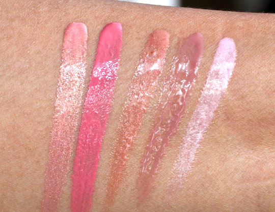 milani crystal gloss and glitzy glamour gloss swatches
