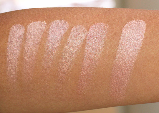 bobbi brown rose gold shimmer brick swatches