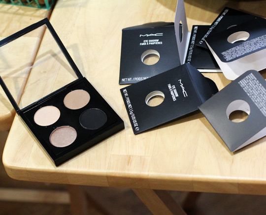 mac palette with shroom, soba, woodwinked and carbon
