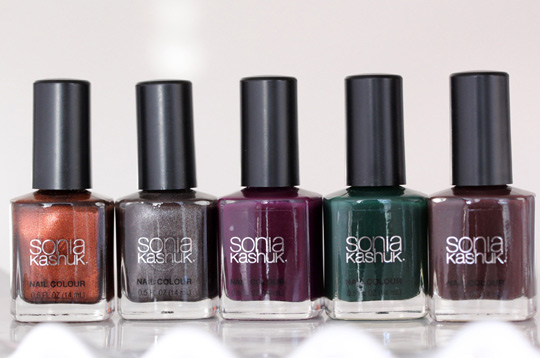 Sonia Kashuk Fall 2012 Nail Colours from the left: Two Cents, Dime a Dozen, Hocus Pocus, Emerald City and All Vamped Up