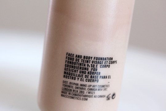 mac face and body foundation bottle