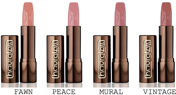 hourglass femme rouge velvet creme lipsticks in fawn, peach, mural and vintage