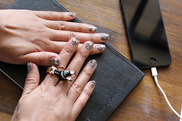 Trend Tips Real Lacquer Strips nail stickers in Pink and Black Lace from Sephora by OPI