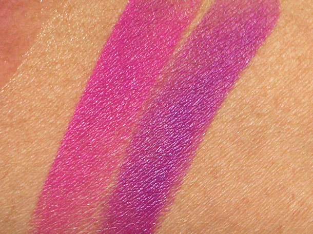 mac night blooming and seductive intent swatches
