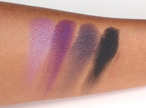MAC Eye Shadow X4 in Spoiled Rich Swatches in Pink-Up Purple, Spoiled Rich, Ron Ron Run and Gravel