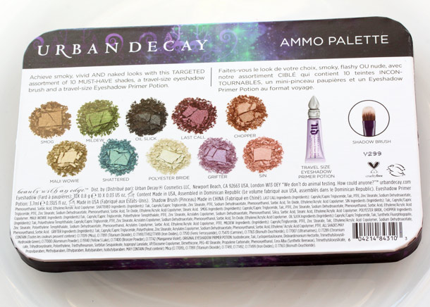urban decay ammo palette back