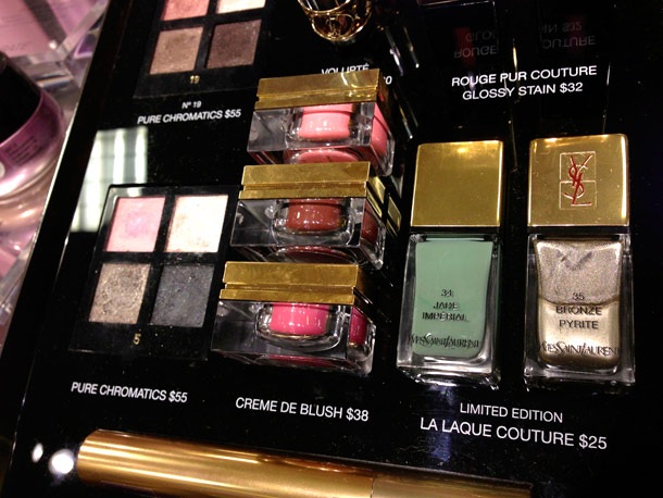 ysl spring 2013 makeup collection display creme de blush la lacque