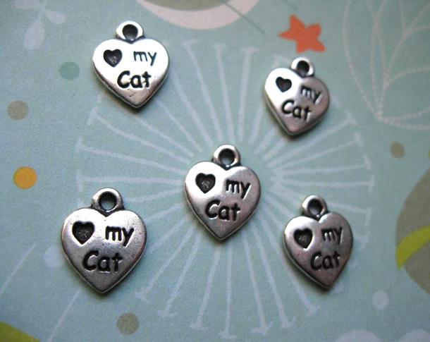 3 TierraCast Love My Cat Heart Charms in Silver Tone