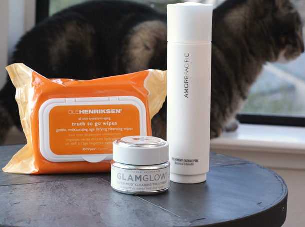 Ole Henriksen Truth to Go Wipes, GLAMGLOW Super-Mud Clearing Treatment, AMORE PACIFIC Treatment Enzyme Peel