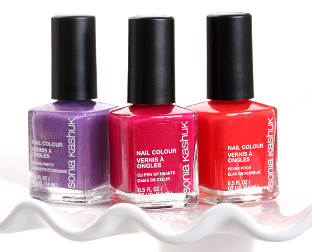 Sonia Kashuk Nail Colours from the left: Sitting Pretty, Queen of Hearts and Fever Pitch ($4.79 each)