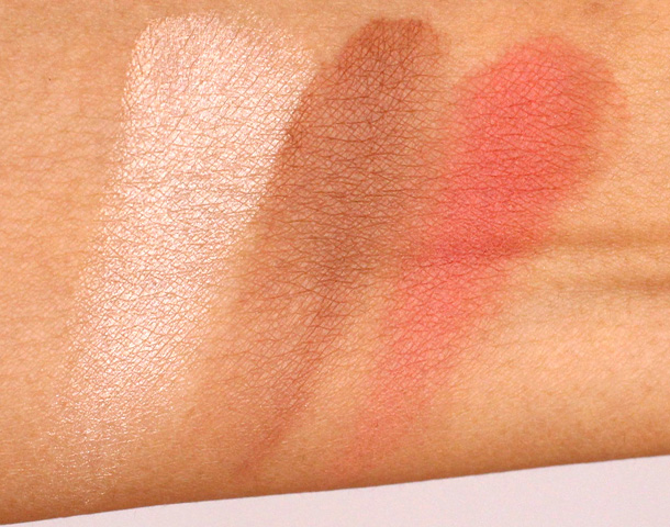 Aqualillies for Tarte swatches from the left: Champagne Highlighter, Park Ave Princess Bronzer and Captivating Blush