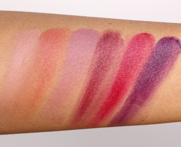 MAC Fall 2013 Forecast Lipstick swatches from the left: Au Naturale, This Is Autumn, Style Apparent, Rich New Mood, Red Statement and Fashion Noise