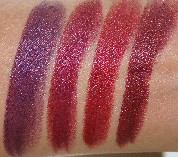 MAC Metallics Lipstick Swatches From the Left: Dominate, Pre-Raphaelite, Show-All and Subverted