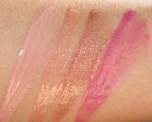 MAC Temperature Rising Lipglass Swatches from the left: Liquid Passion, Soft Serenade, Underdressed and Rhythm